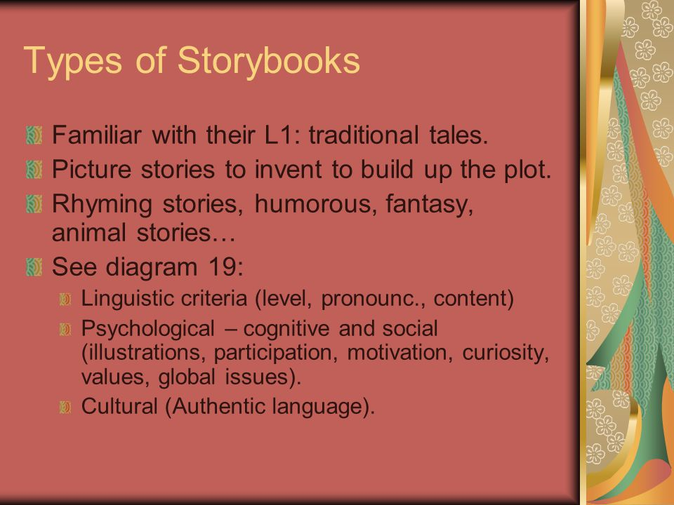 Types of Storybooks Familiar with their L1: traditional tales.