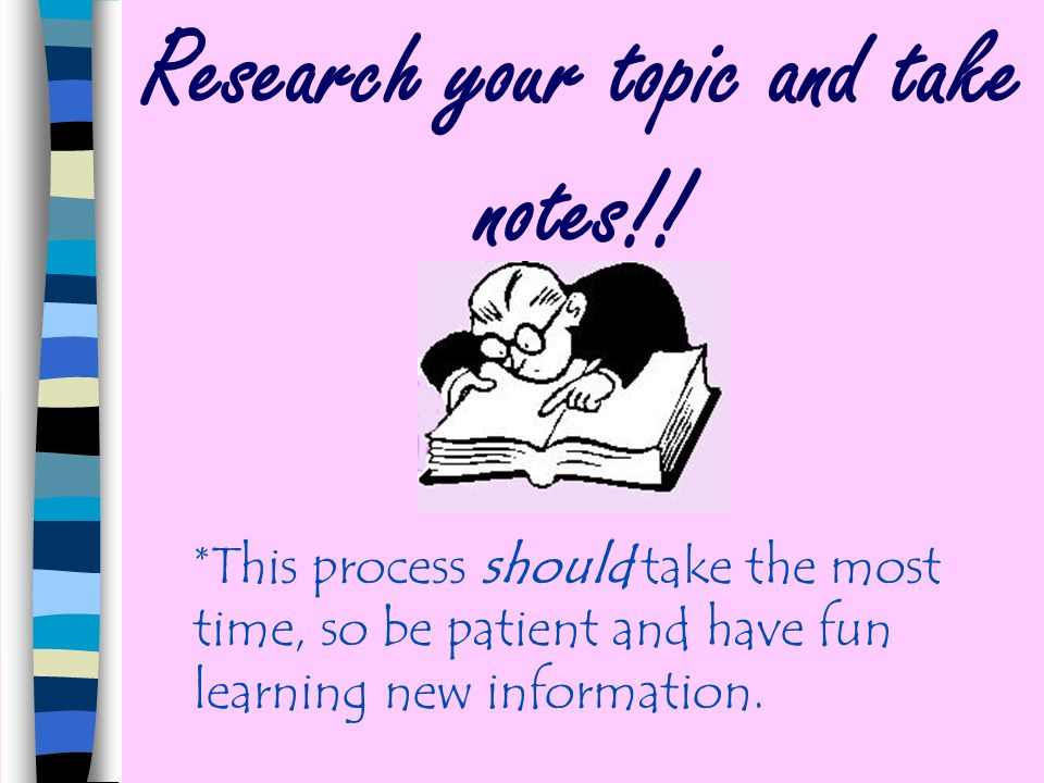 Research your topic and take notes!!