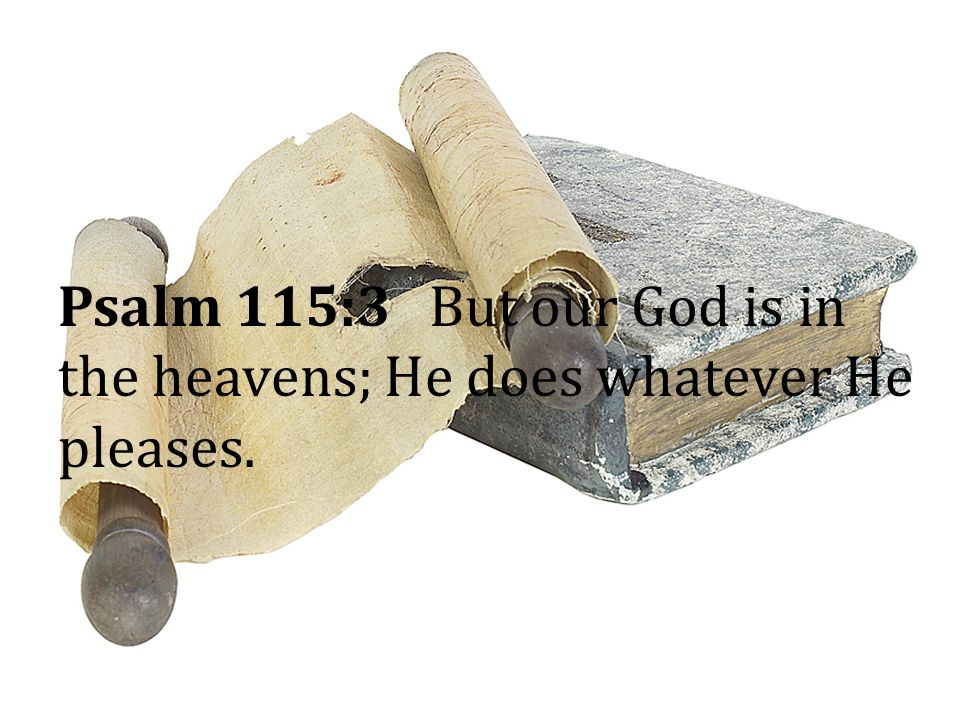 Psalm 115:3 But our God is in the heavens; He does whatever He pleases.
