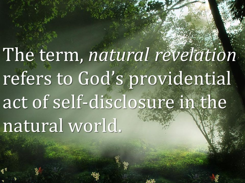 The term, natural revelation refers to God's providential act of self-disclosure in the natural world.