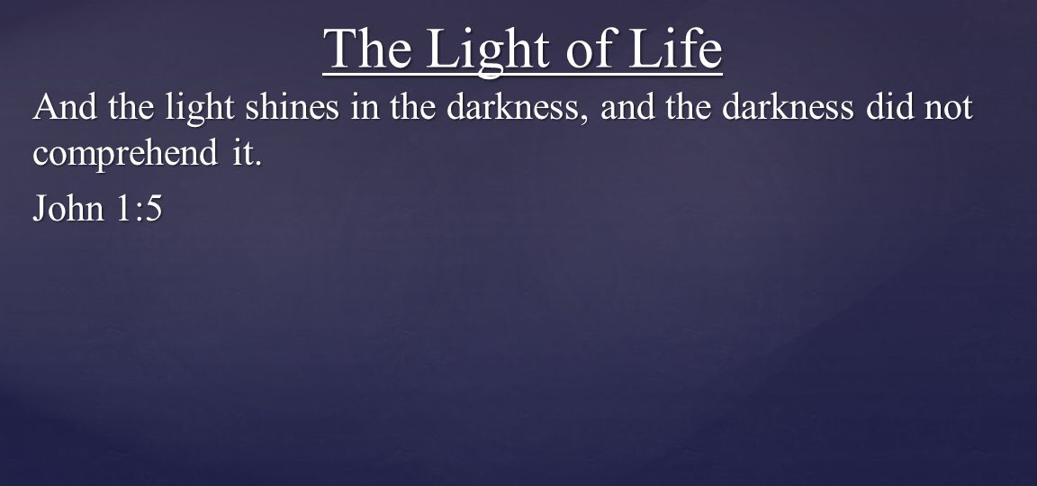 The Light of Life And the light shines in the darkness, and the darkness did not comprehend it.