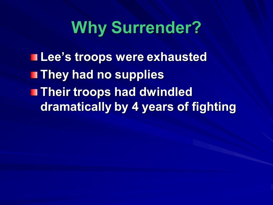 Why Surrender Lee's troops were exhausted They had no supplies