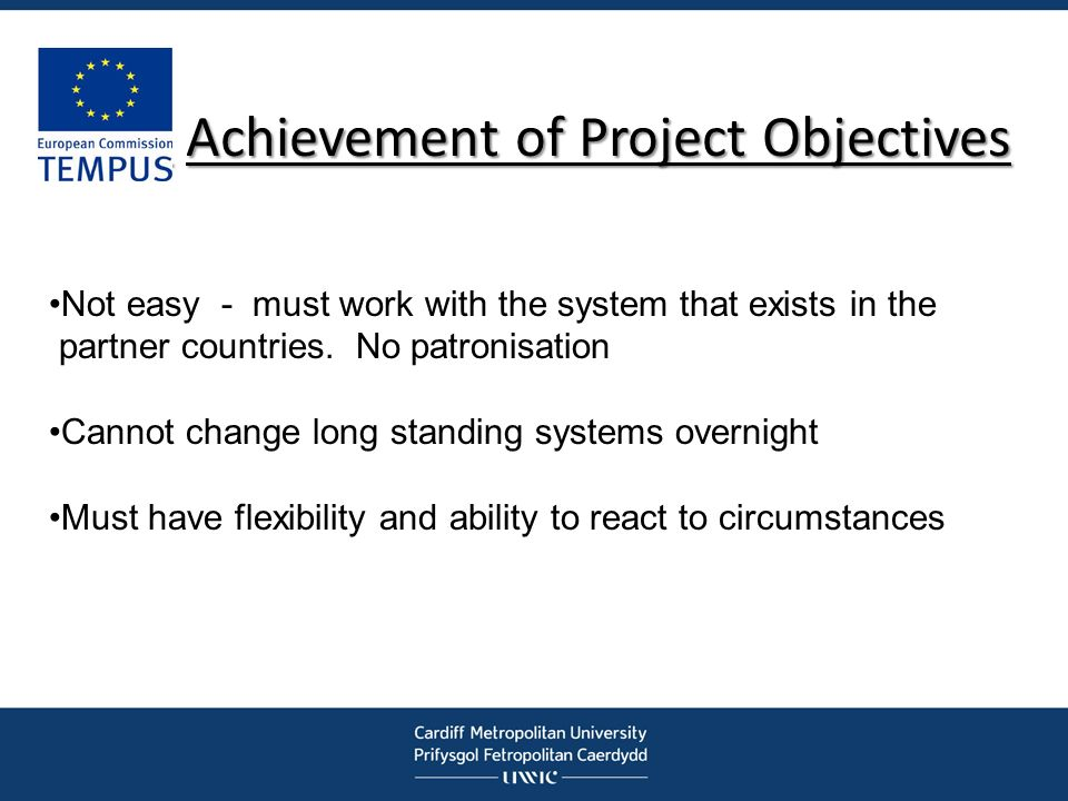 Achievement of Project Objectives