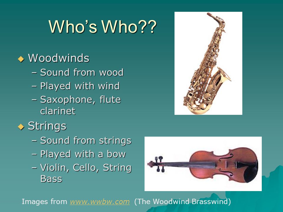 Who's Who Woodwinds Strings Sound from wood Played with wind