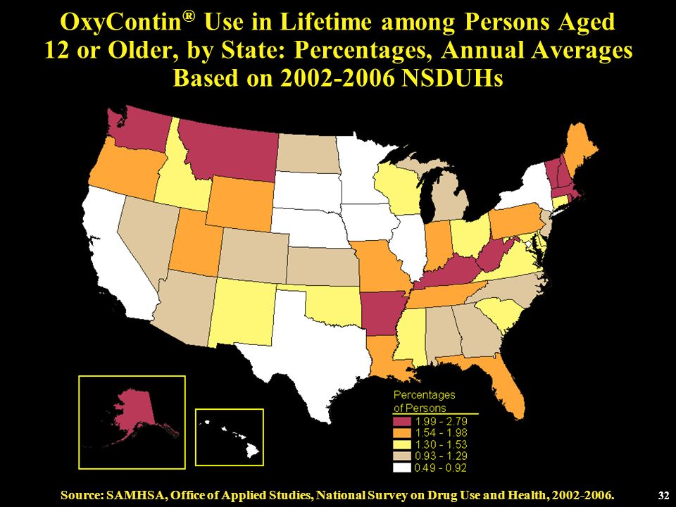 OxyContin® Use in Lifetime among Persons Aged 12 or Older, by State: Percentages, Annual Averages Based on NSDUHs