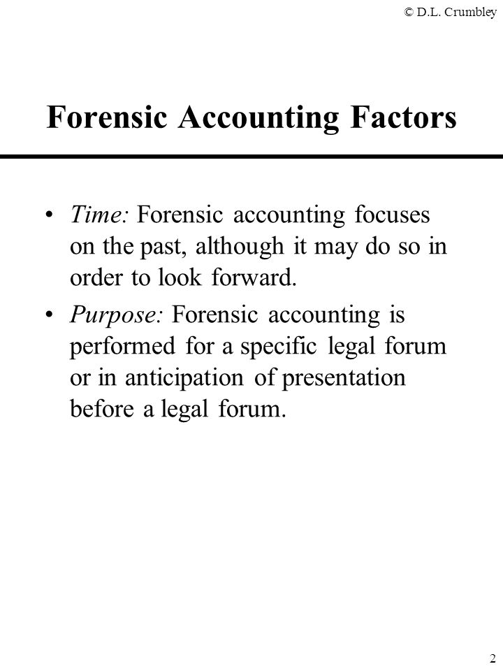 Forensic accounting update copyrighted 2001 d larry crumbley cpa forensic accounting factors solutioingenieria Images