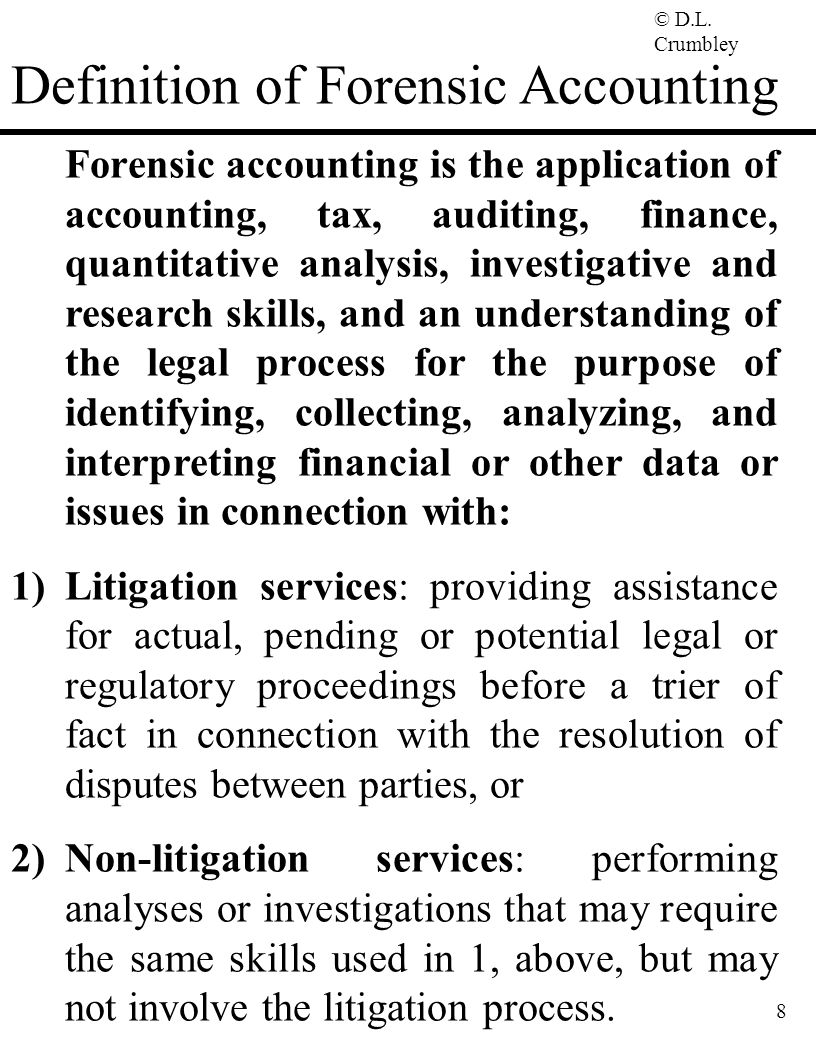 Forensic Accounting Some Strategies For Detecting Preventing Fraud D Larry Crumbley Cpa Cff Cr Fa Maff Fcpa Kpmg Endowed Professor Department Ppt Download