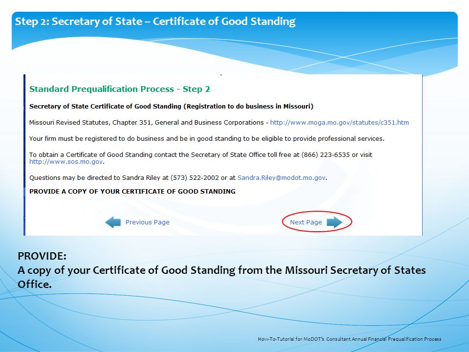 How To Tutorial For Modots Consultant Prequalification Process