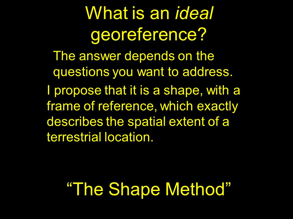 What is an ideal georeference