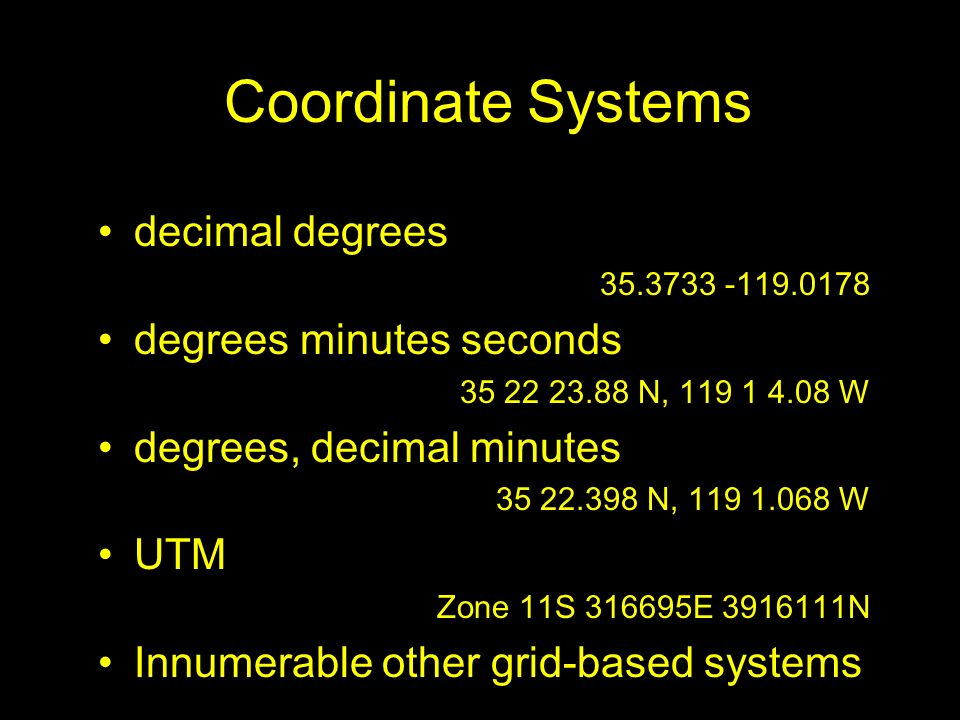 Coordinate Systems decimal degrees degrees minutes seconds