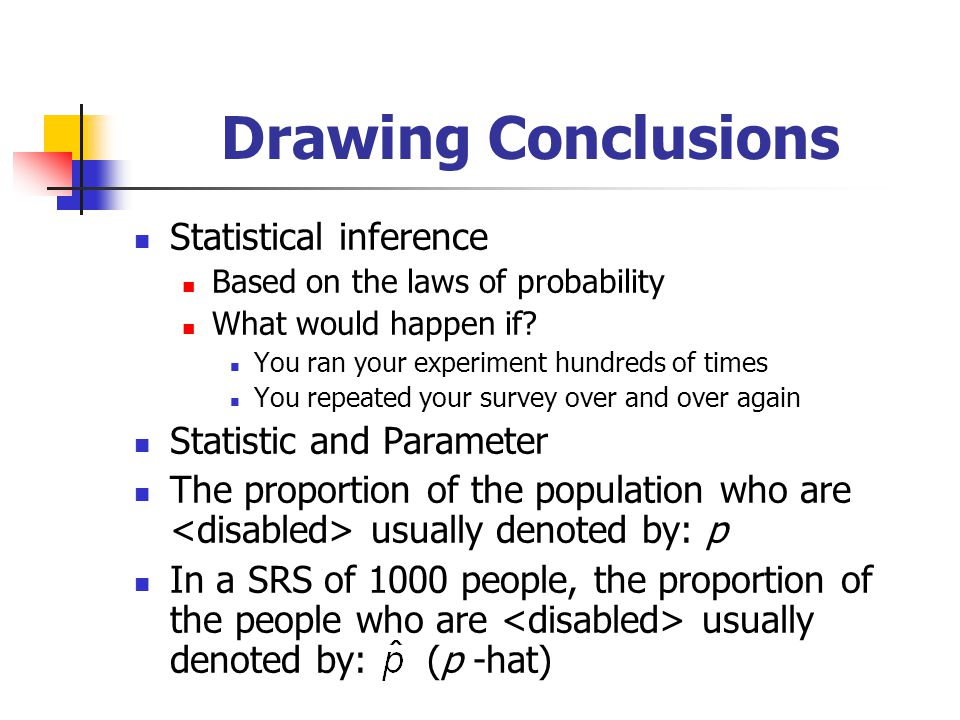 Drawing Conclusions Statistical inference Statistic and Parameter