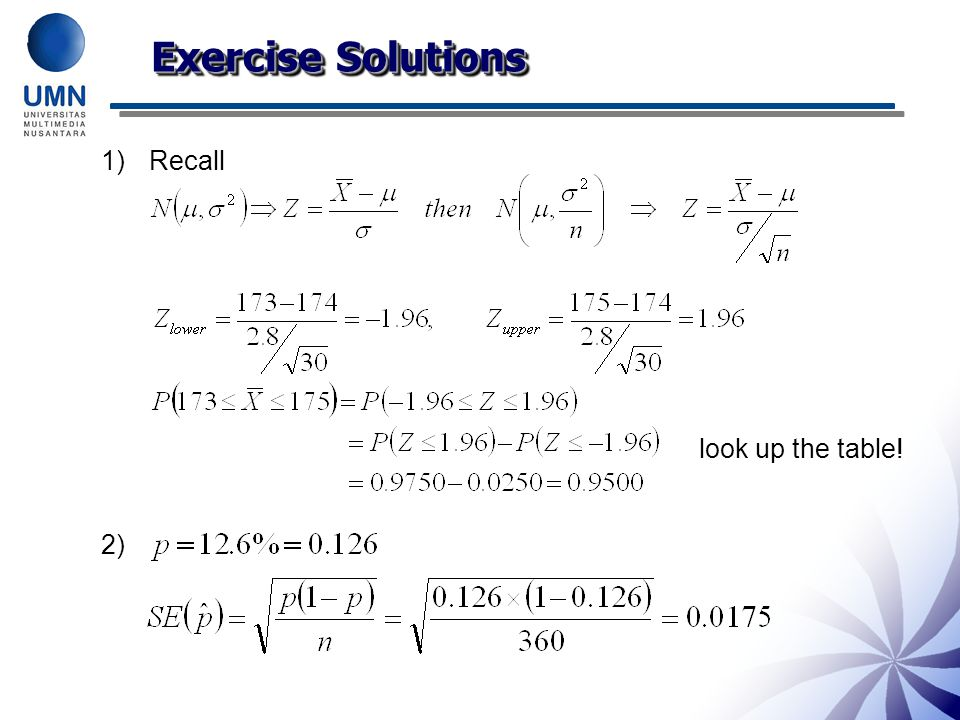 Exercise Solutions Recall look up the table! 2) 24