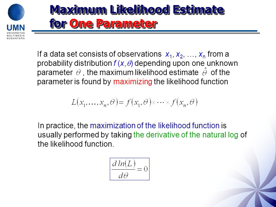 Maximum Likelihood Estimate for One Parameter