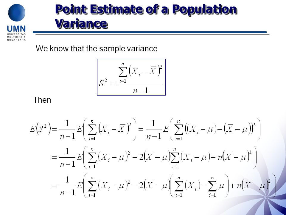 Point Estimate of a Population Variance