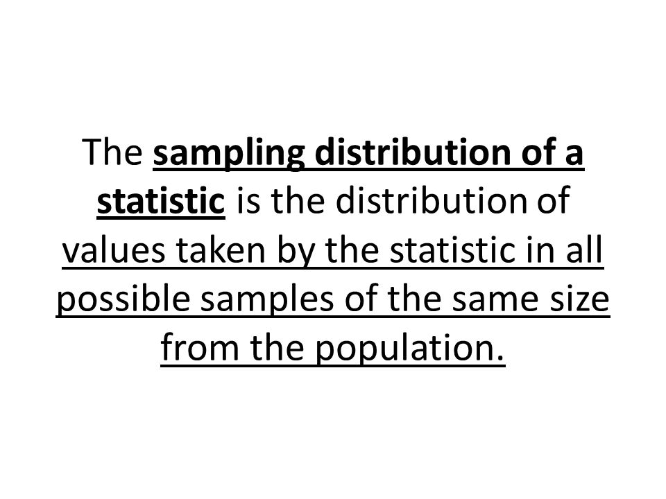 The sampling distribution of a statistic is the distribution of values taken by the statistic in all possible samples of the same size from the population.