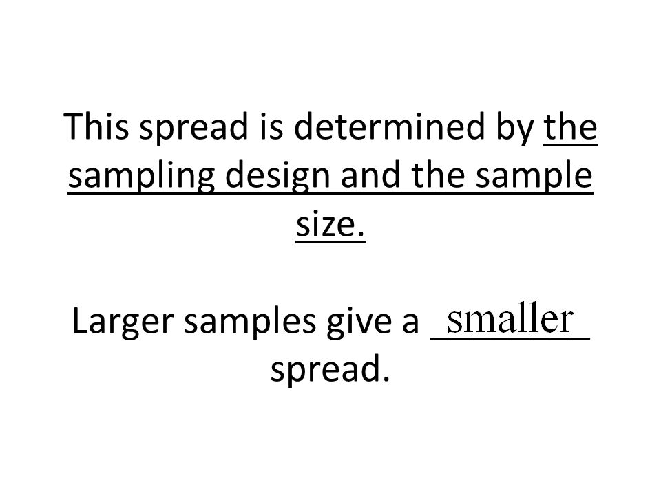 This spread is determined by the sampling design and the sample size