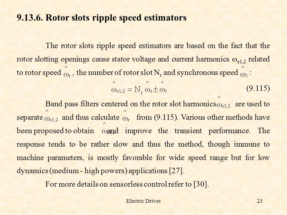 Rotor slots ripple speed estimators