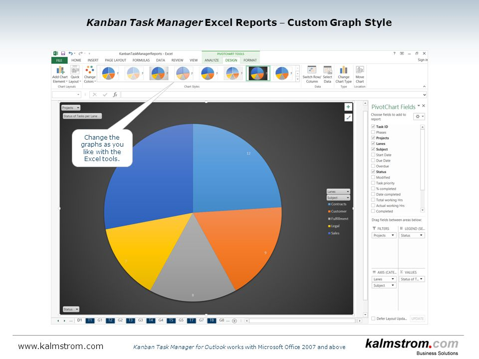 Kanban Task Manager Excel Reports ‒ Custom Graph Style