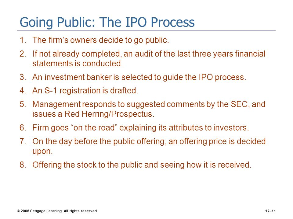 Going Public: The IPO Process
