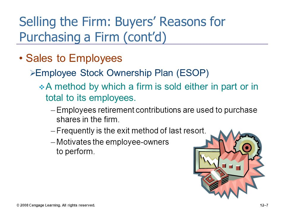 Selling the Firm: Buyers' Reasons for Purchasing a Firm (cont'd)