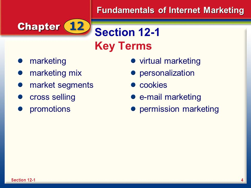 Section 12-1 Key Terms marketing marketing mix market segments
