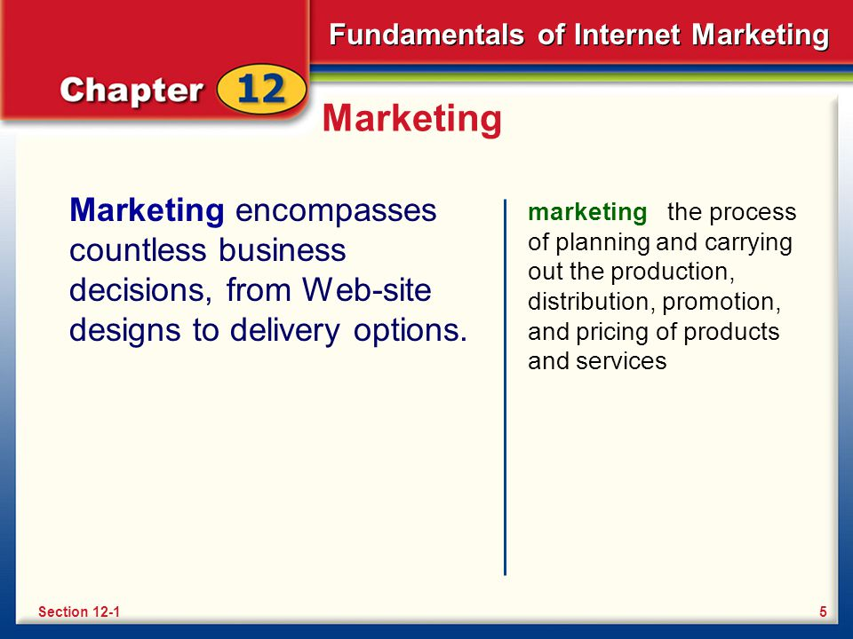 Marketing Marketing encompasses countless business decisions, from Web-site designs to delivery options.