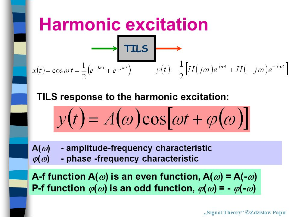 Harmonic excitation TILS TILS response to the harmonic excitation: