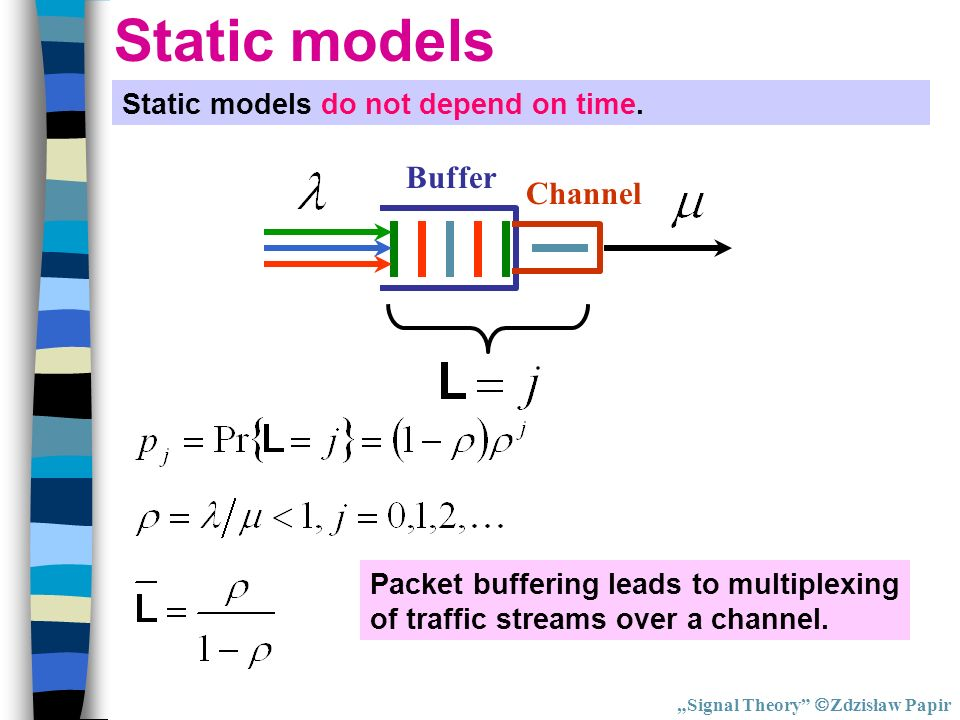 Static models Buffer Channel Static models do not depend on time.