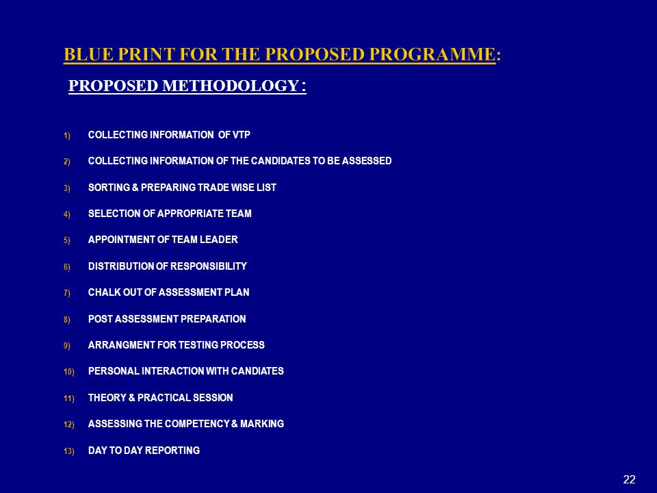 BLUE PRINT FOR THE PROPOSED PROGRAMME: