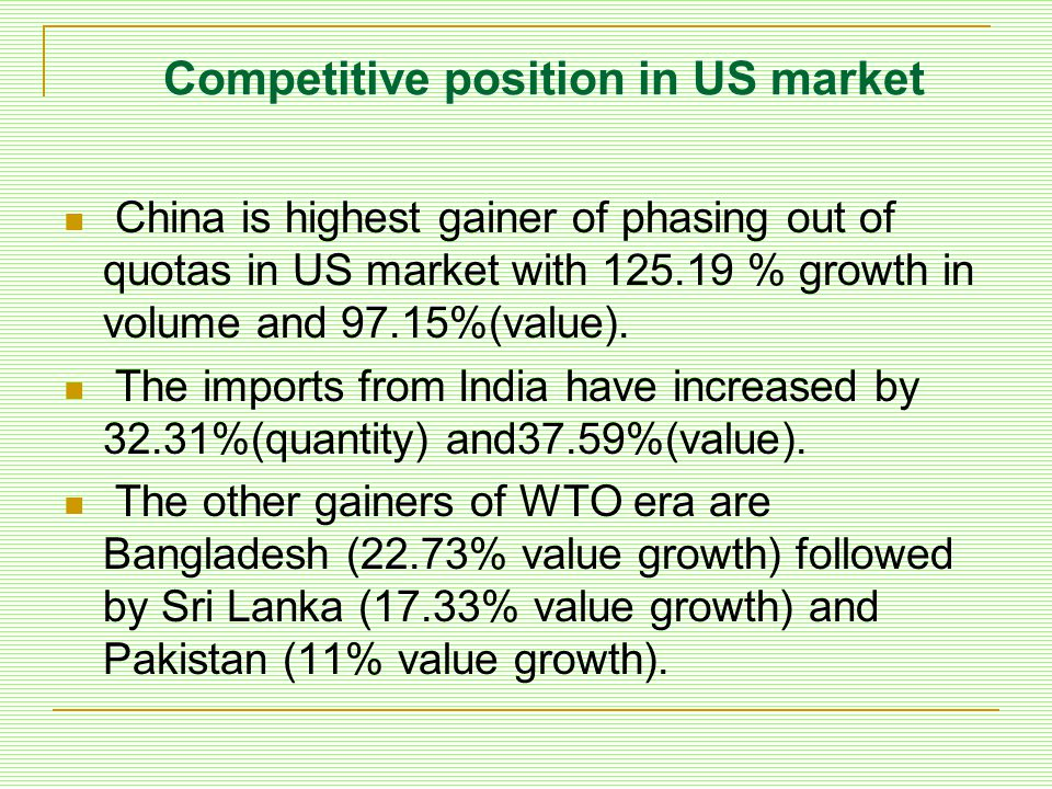 Competitive position in US market