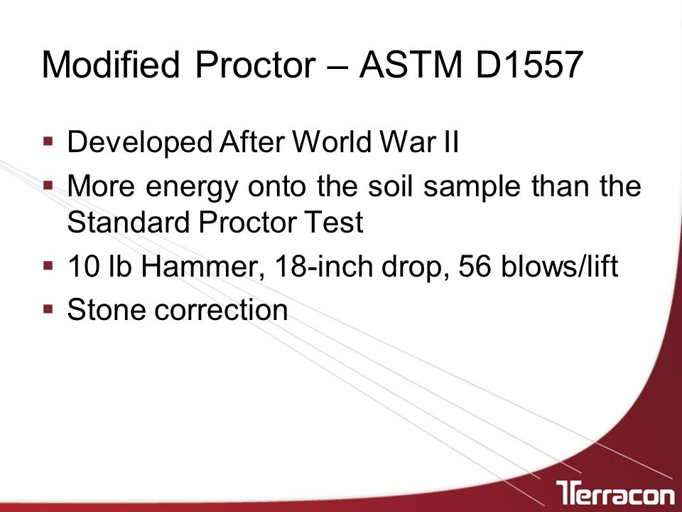 Modified Proctor – ASTM D1557