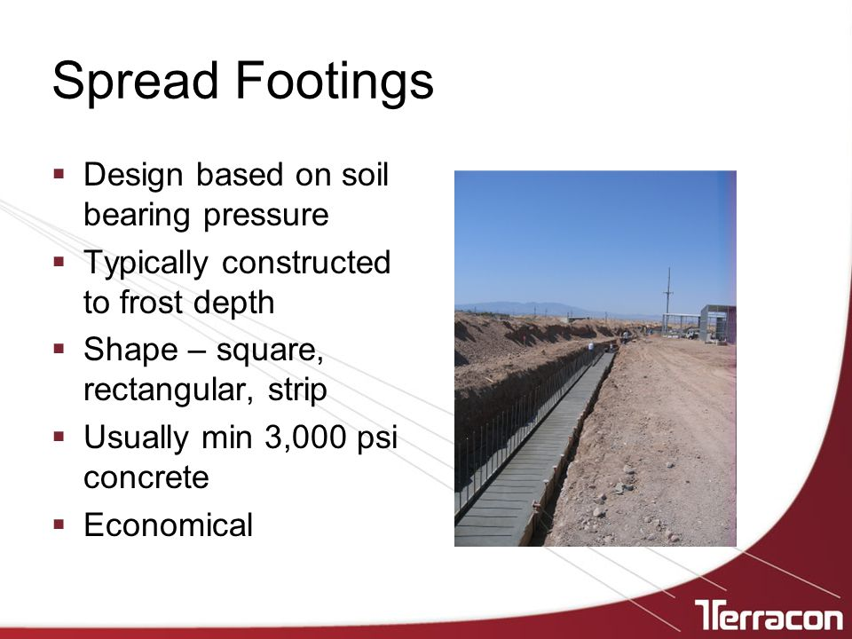 Spread Footings Design based on soil bearing pressure