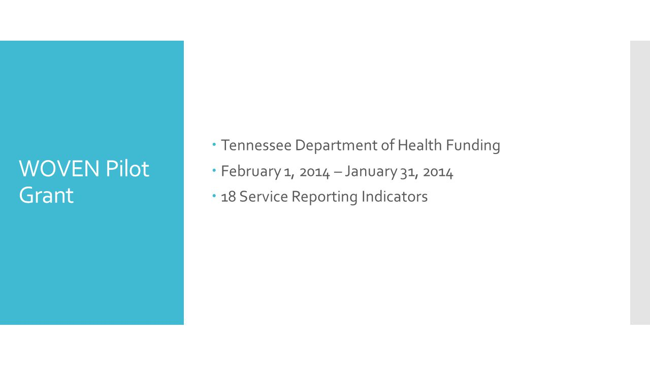 WOVEN Pilot Grant Tennessee Department of Health Funding