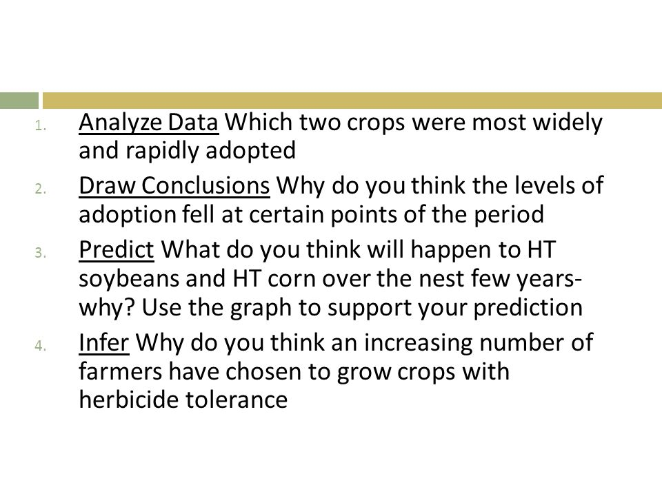Analyze Data Which two crops were most widely and rapidly adopted