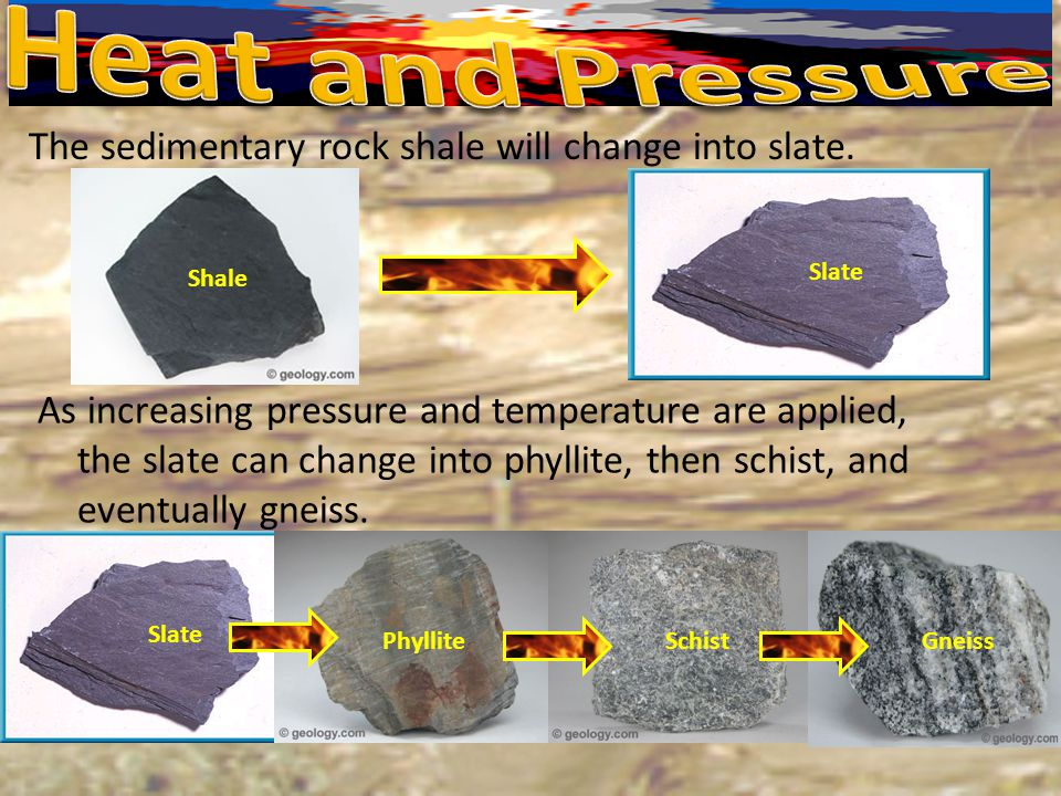 Heat and Pressure The sedimentary rock shale will change into slate.