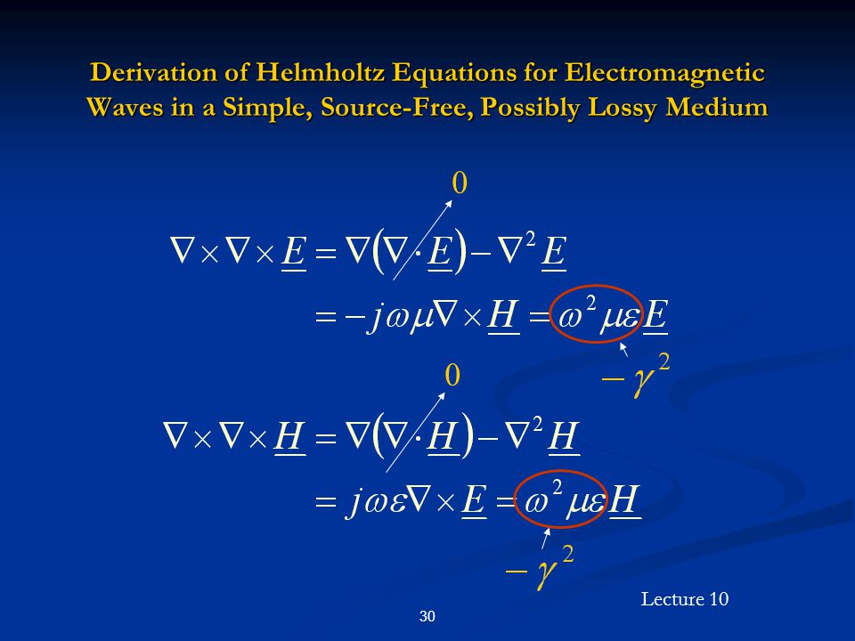Derivation of Helmholtz Equations for Electromagnetic Waves in a Simple, Source-Free, Possibly Lossy Medium