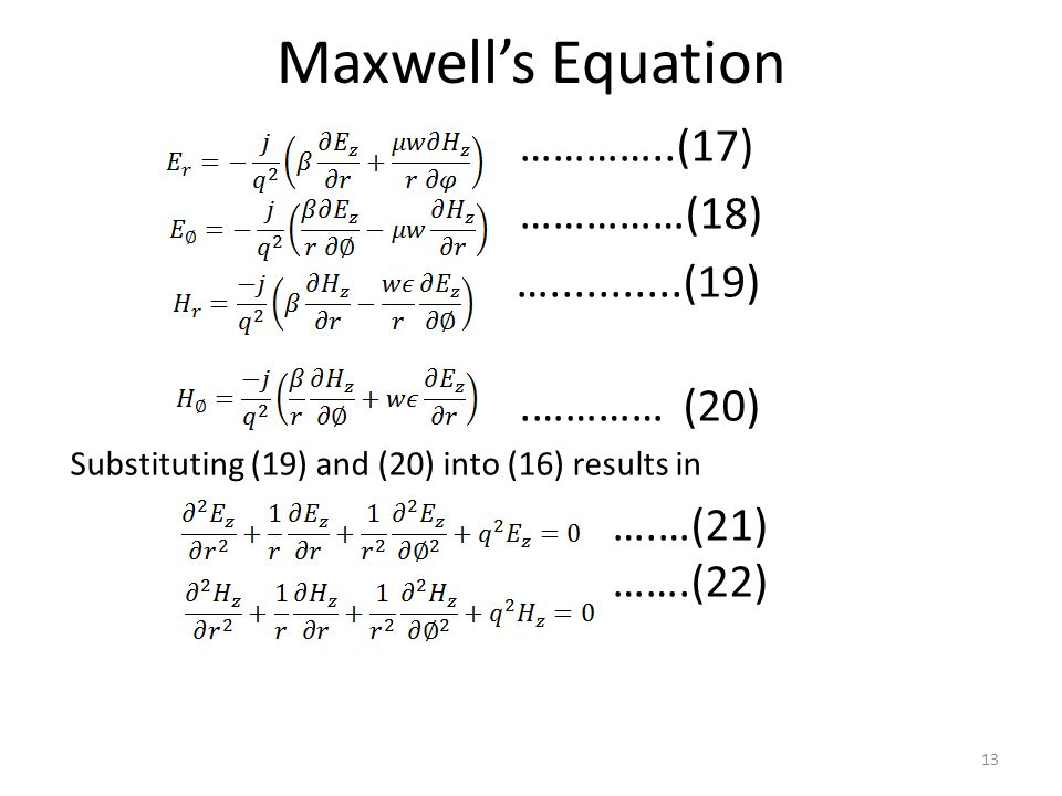 Maxwell's Equation …………..(17) ……………(18) … (19) .………… (20)