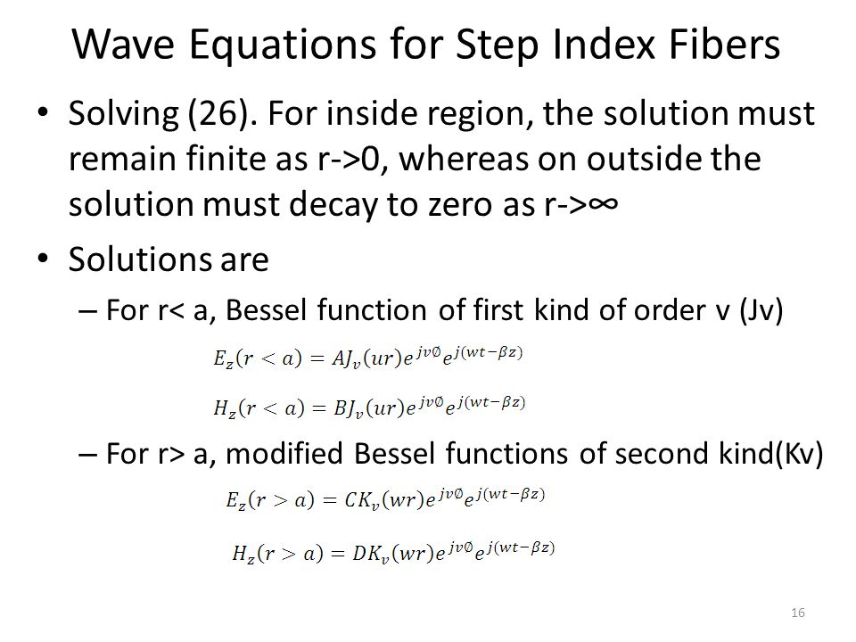 Wave Equations for Step Index Fibers