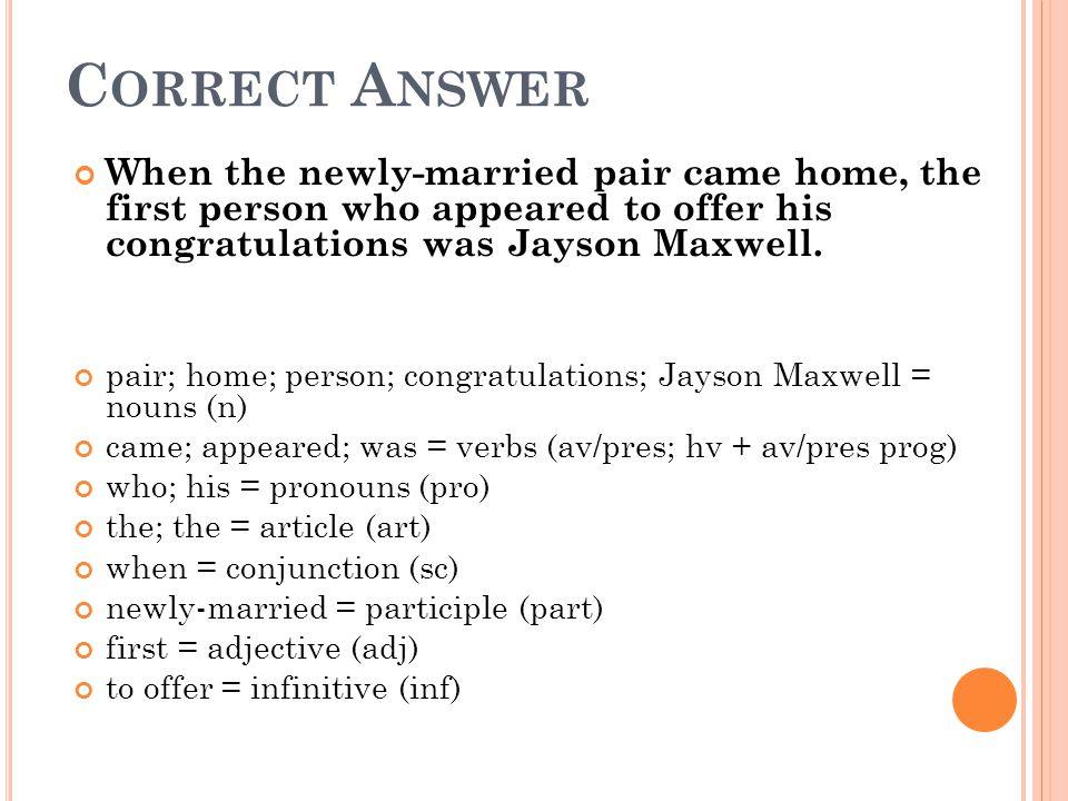 Correct Answer When the newly-married pair came home, the first person who appeared to offer his congratulations was Jayson Maxwell.
