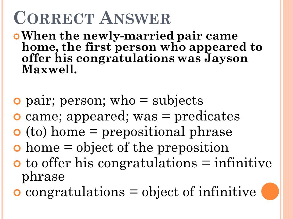 Correct Answer pair; person; who = subjects