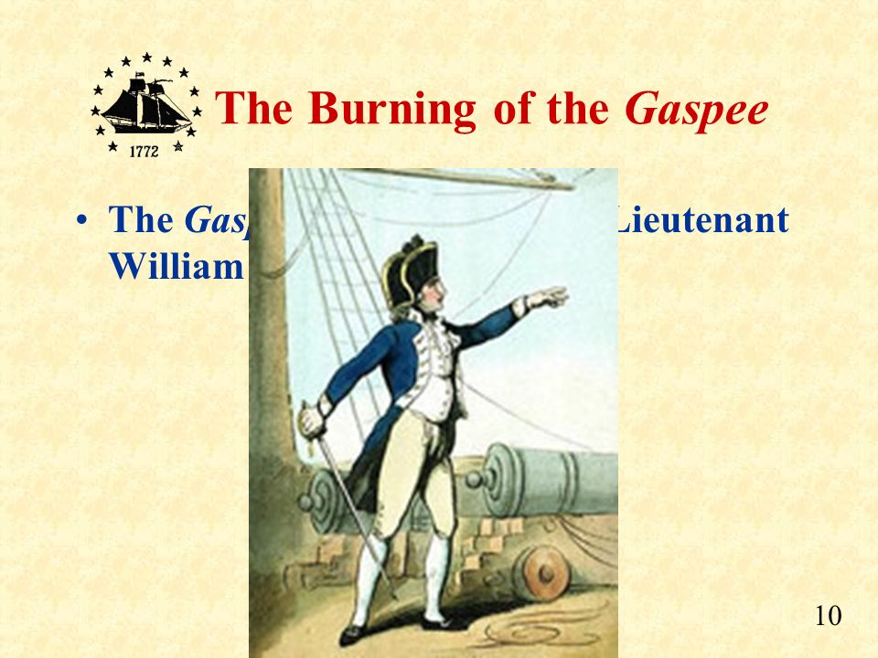 The Gaspee was captained by Lieutenant William Dudingston.