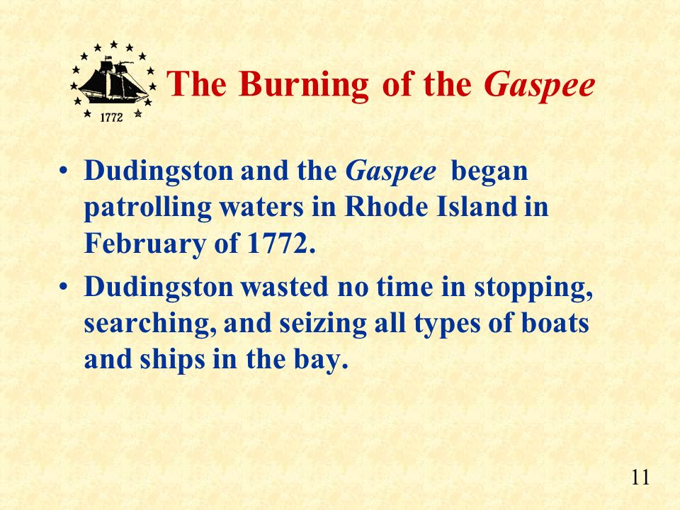 Dudingston and the Gaspee began patrolling waters in Rhode Island in February of 1772.