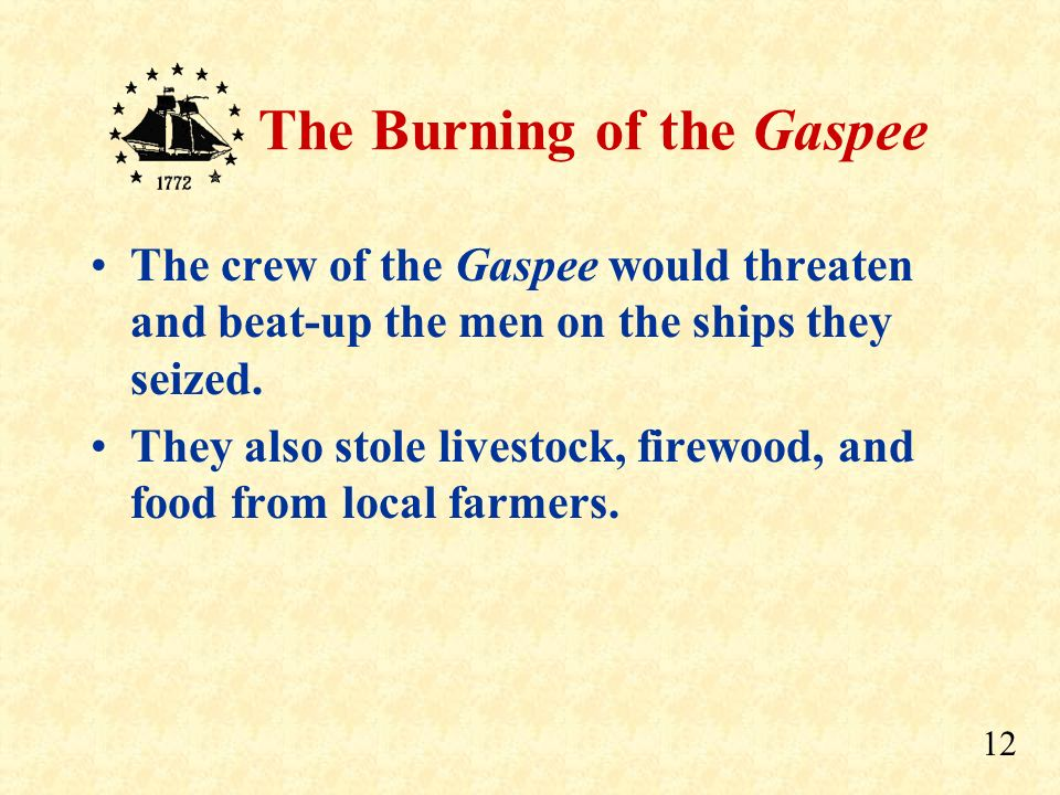 The crew of the Gaspee would threaten and beat-up the men on the ships they seized.