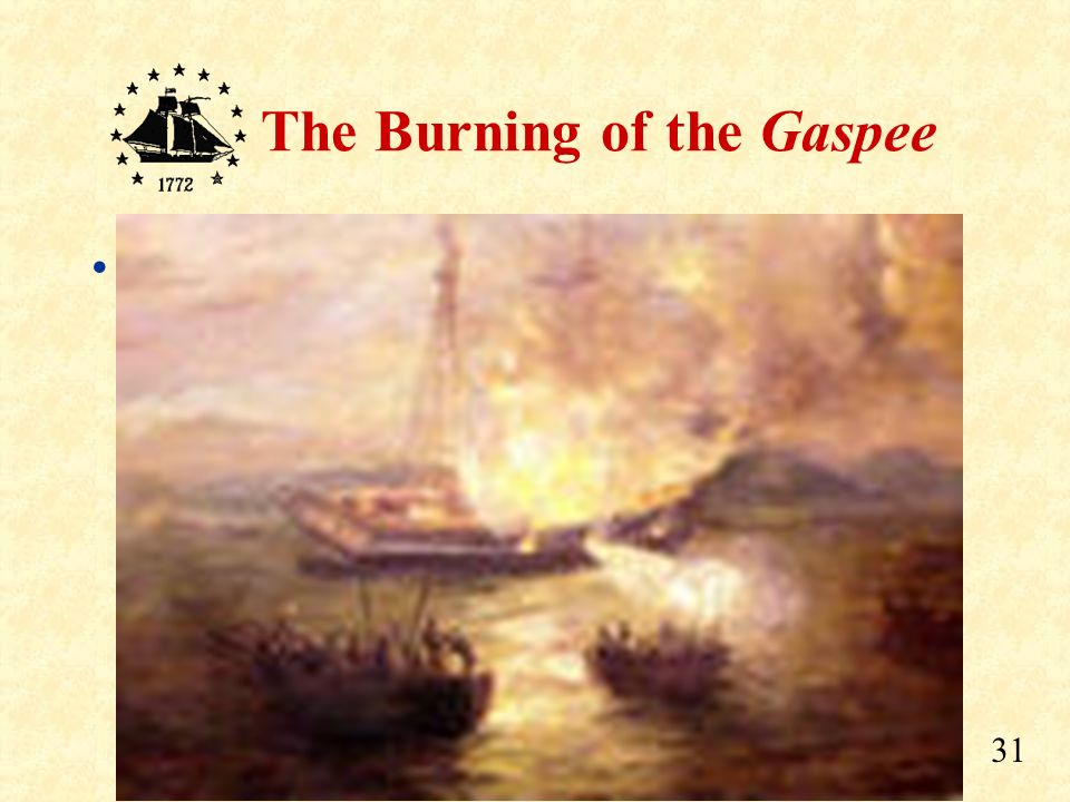 Flames soon reached the gunpowder storage, and a loud explosion ripped the Gaspee apart.