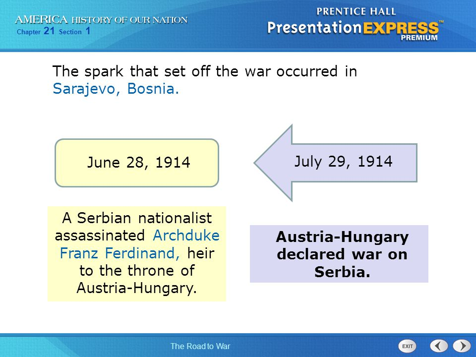 Austria-Hungary declared war on Serbia.