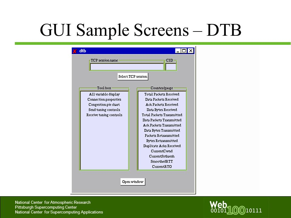 GUI Sample Screens – DTB