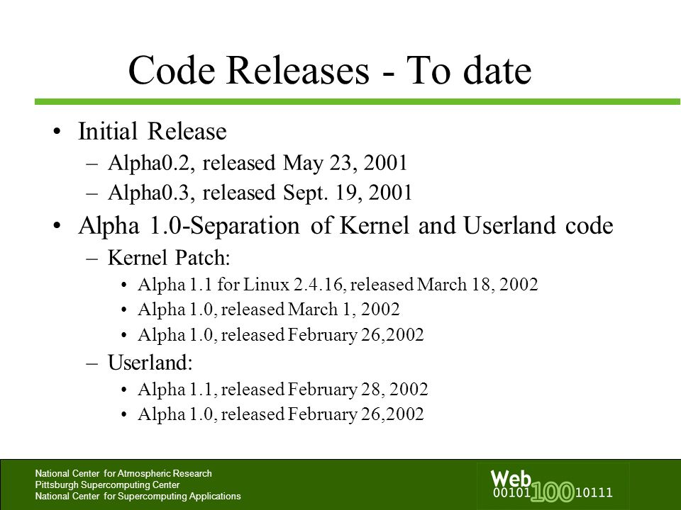 Code Releases - To date Initial Release