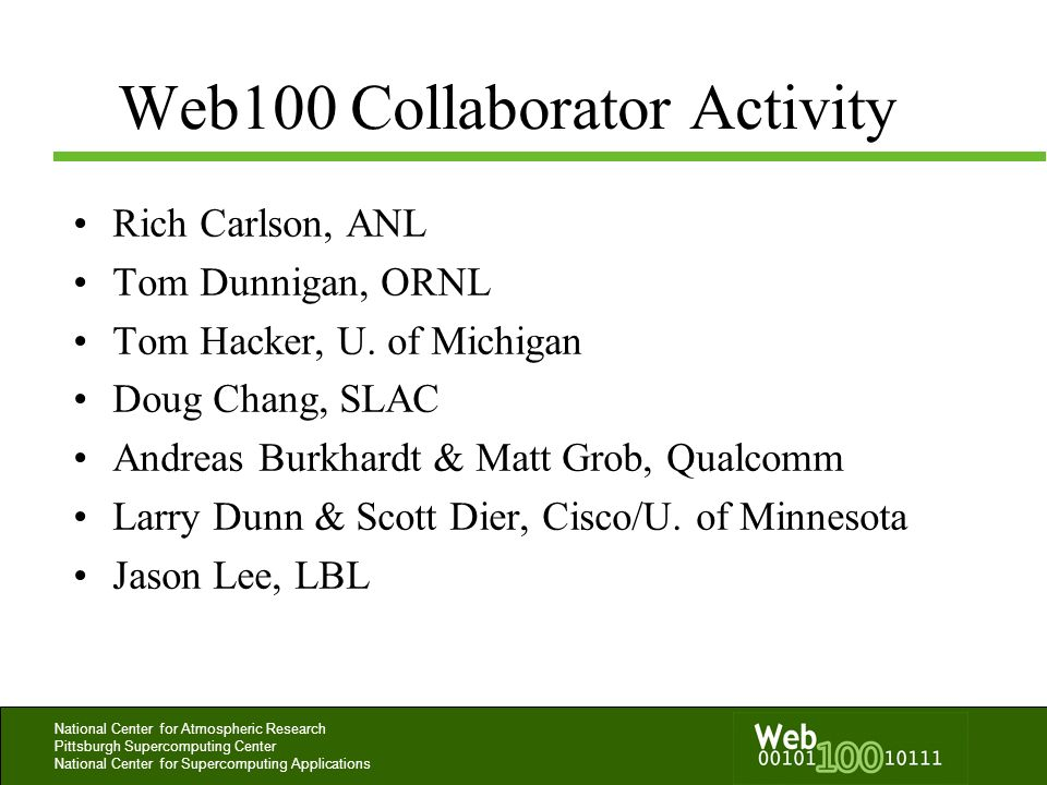 Web100 Collaborator Activity