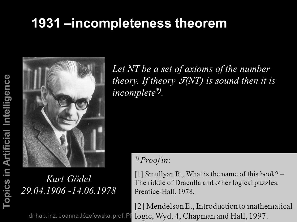 1931 –incompleteness theorem