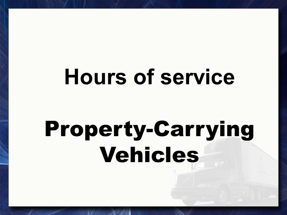 Property-Carrying Vehicles